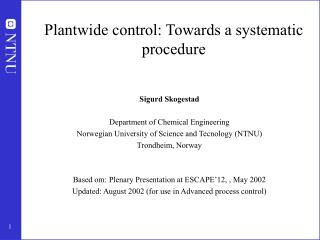 Plantwide control: Towards a systematic procedure