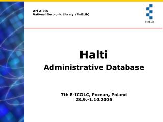 Ari Alkio National Electronic Library  (FinELib)