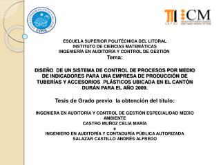 ESCUELA SUPERIOR POLIT�CNICA DEL LITORAL INSTITUTO DE CIENCIAS MATEM�TICAS