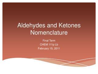 Aldehydes and Ketones Nomenclature