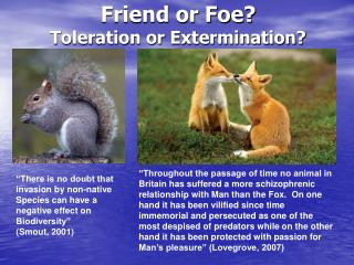 Friend or Foe? Toleration or Extermination?