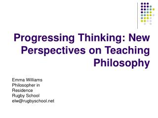 Progressing Thinking: New Perspectives on Teaching Philosophy