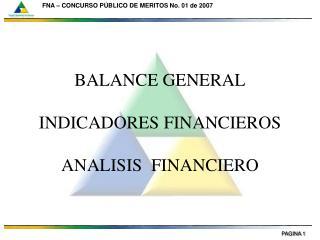 BALANCE GENERAL INDICADORES FINANCIEROS ANALISIS  FINANCIERO
