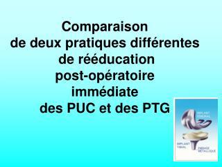 Comparaison de deux pratiques diff rentes  de r  ducation post-op ratoire imm diate des PUC et des PTG