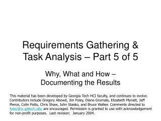 Requirements Gathering  Task Analysis   Part 5 of 5