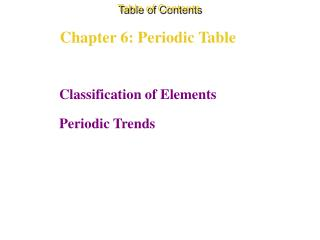 Chapter 6: Periodic Table