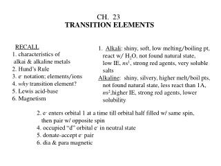 CH.  23 TRANSITION ELEMENTS