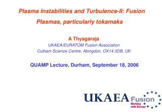 Plasma Instabilities and Turbulence-II: Fusion Plasmas, particularly tokamaks