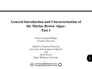 General Introduction and Characterization of  the Marine Brown Algae: Part I