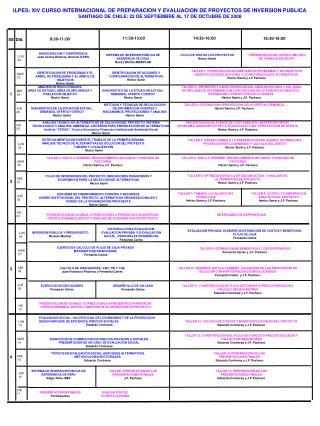 ILPES: XIV CURSO INTERNACIONAL DE PREPARACION Y EVALUACION DE PROYECTOS DE INVERSION PUBLICA