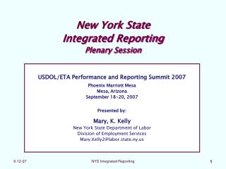New York State Integrated Reporting Plenary Session