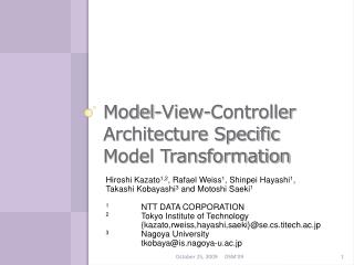 Model-View-Controller Architecture Specific Model Transformation