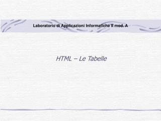 HTML – Le Tabelle