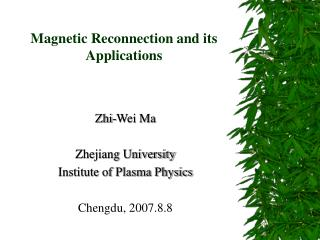 Magnetic Reconnection and its Applications