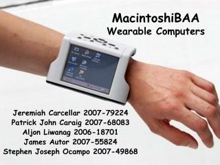 MacintoshiBAA Wearable Computers