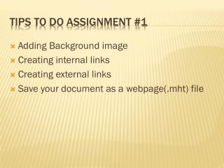Tips to do Assignment #1