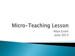Micro-Teaching Lesson