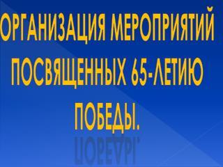 Организация мероприятий посвященных 65-летию Победы.