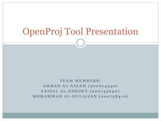 OpenProj  Tool Presentation