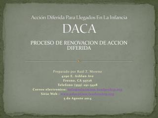 Acción Diferida Para  Llegados En La Infancia  DACA