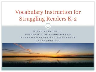 Vocabulary Instruction for Struggling Readers K-2