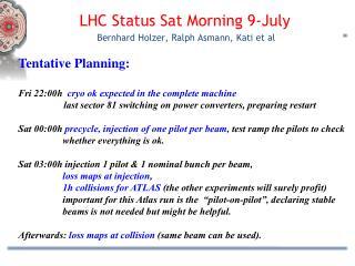 LHC Status  Sat  Morning 9 -July  Bernhard Holzer, Ralph  Asmann , Kati  et  al