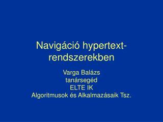 Navigáció hypertext- rendszerekben