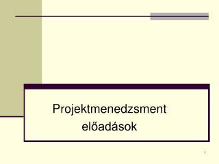 Projektmenedzsment előadások