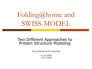 Folding@home and SWISS-MODEL