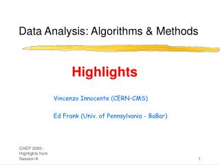 Data Analysis: Algorithms & Methods