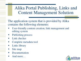 Alika Portal Publishing, Links and Content Management Solution