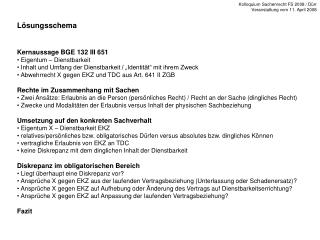 L�sungsschema Kernaussage BGE 132 III 651  Eigentum � Dienstbarkeit
