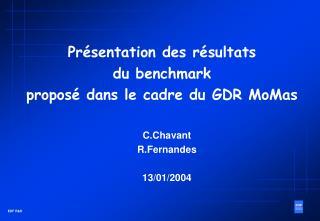 Présentation des résultats du benchmark proposé dans le cadre du GDR MoMas