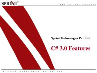Sprint Technologies Pvt. Ltd C# 3.0 Features