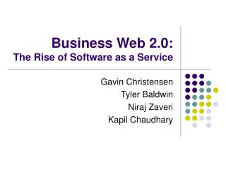 Business Web 2.0:  The Rise of Software as a Service