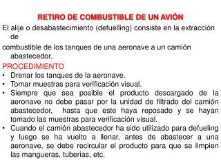 RETIRO DE COMBUSTIBLE DE UN AVIÓN