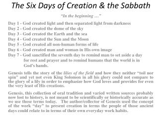 The Six Days of Creation & the Sabbath