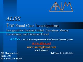ALISS  – AAIM Law-enforcement Intelligence Support System aliss aaimglobal