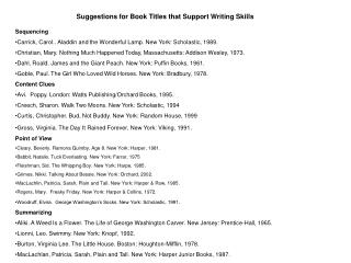Suggestions for Book Titles that Support Writing Skills