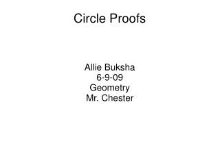 Circle Proofs