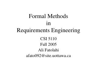 Formal Methods in Requirements Engineering