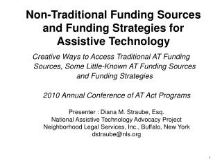 Non-Traditional Funding Sources and Funding Strategies for Assistive Technology