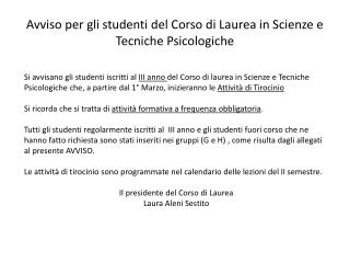 Avviso per gli studenti del Corso di Laurea in Scienze e Tecniche Psicologiche