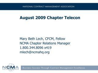 August 2009 Chapter Telecon