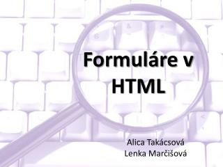 Formuláre v HTML