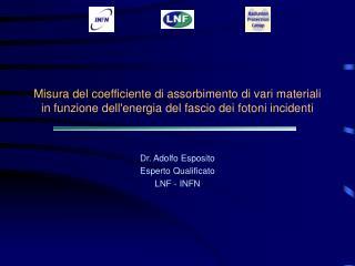 Dr. Adolfo Esposito Esperto Qualificato  LNF - INFN