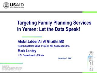 Targeting Family Planning Services in Yemen: Let the Data Speak!