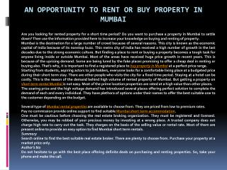 An opportunity to rent or buy property in Mumbai