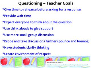 Questioning – Teacher Goals