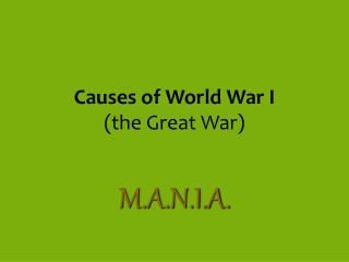 Causes of World War I (the Great War)